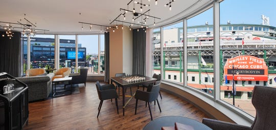 The Marquee Suite at the Hotel Zachary has a bird's-eye view of the entrance to Wrigley Field.