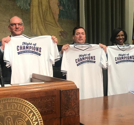 Gov. John Bel Edwards, Lt. Gov. Billy Nungesser and Baton Rouge Mayor Sharon Weston Broome celebrate the National College Baseball Hall of Fame event coming to Louisiana.