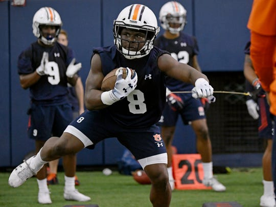 Auburn running back Shaun Shivers during practice on Saturday, Aug. 3, 2019 in Auburn, Ala.