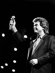 Conway Twitty died at 59 in 1993. Here, Twitty thanks the audience before performing during the 18th annual Music City News Country Awards show at the Grand Ole Opry House on June 4, 1984.