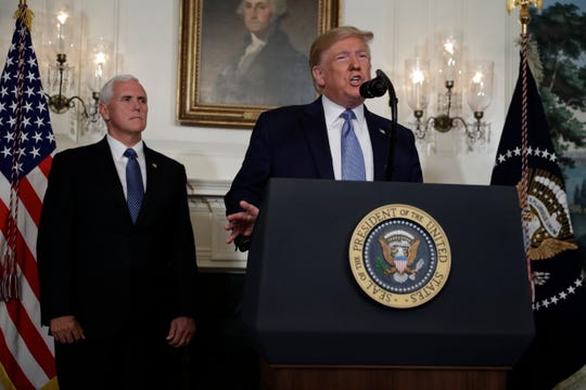 President Donald Trump speaks about the mass shootings in El Paso, Texas and Dayton, Ohio, in the Diplomatic Reception Room of the White House, Monday, Aug. 5, 2019, in Washington. (AP Photo/Evan Vucci)