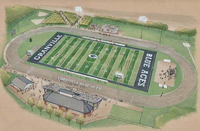 In this artist's rendering of the planned new Granville High School field complex, the larger building at the lower portion of the sketch reflects new locker rooms behind what will be new bleachers. The structure to the lower left is what will be a renovated concession stand. As earlier announced, the project will also include artificial turf, a new track and new press box, among other features.