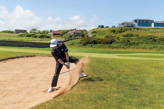 Golf influencer Michael Fasano at Crail Golfing Society in Scotland.