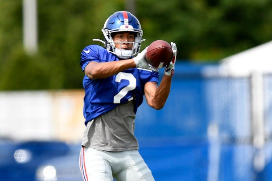 New York Giants' T.J. Jones completes a catch during training camp on Monday, August 5, 2019, in East Rutherford.