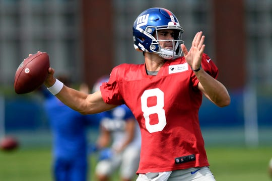 New York Giants rookie quarterback Daniel Jones throws the ball during training camp on Monday, August 5, 2019, in East Rutherford.