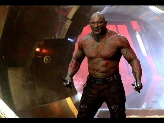 Dave Bautista plays his character in Guardians of the Galaxy movie series.