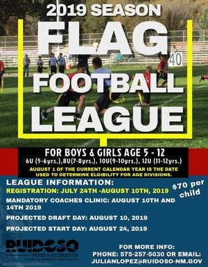 The poster for the Flag Football League contains details for registration.