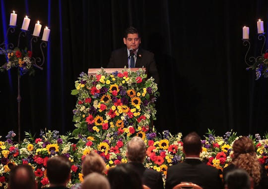 Representative Raul Ruiz speaks during the memorial for Larry Olinger at the Agua Caliente Resort Casino in Rancho Mirage, August 5, 2019.