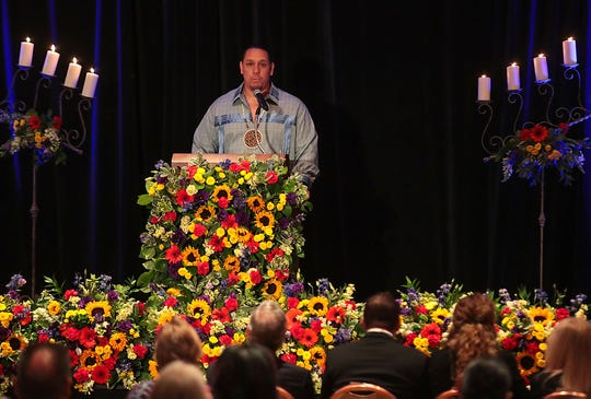 Agua Caliente Tribal Chairman Jeff Grubbe speaks during the memorial for Larry Olinger at the Agua Caliente Resort Casino in Rancho Mirage, August 5, 2019.