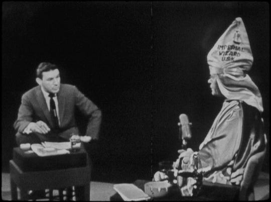"Mike Wallace interviews Ku Klux Klan leader Eldon Edwards (1957) in ""Mike Wallace Is Here."""