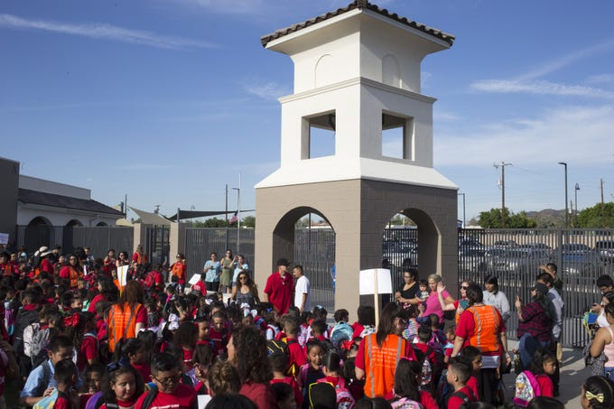 The bell tower at Frank Elementary School in Guadalupe on August 5, 2019.