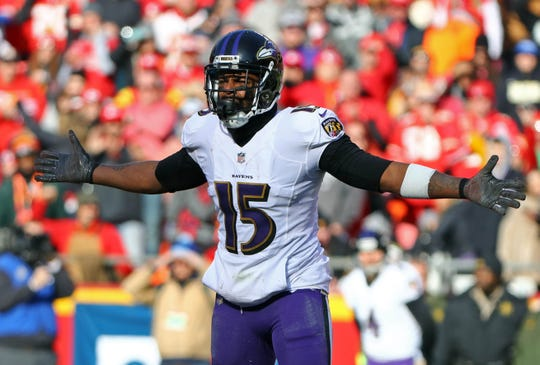 Ravens receiver Michael Crabtree reacts to a call during the first half of a game against the Chiefs on Dec 9, 2018 at Arrowhead Stadium.