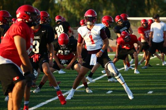 Chaparral High quarterback Jack Miller (1) during practice on Aug. 5, 2019 in Scottsdale, Ariz.