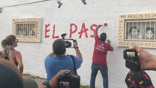 Manuel Oliver finishes a mural on Aug. 4, 2019, honoring a Parkland shooting victim after another shooting killed 20 in El Paso the day before.