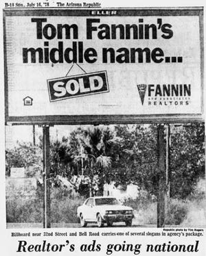 A Fannin and Associates advertisement photographed for a 1978 issue of the Arizona Republic.