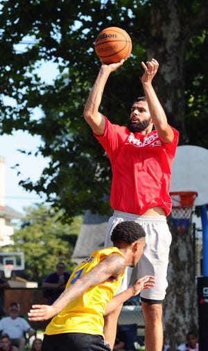Lebanon High grad Blayde Reich of Fuhrman Industrial puts up a shot during the Sweep The Streets championship game two years ago. After cancelling last year due to COVID-19, the playground hoops event returns Aug.7 and 8 at a new venue, Coleman Memorial Park.