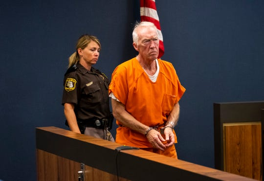 Richard Laurence Hartwick is lead into St. Clair County Circuit Judge Michael West's courtroom before a hearing Monday, Aug. 5, 2019. Hartwick, a former accountant with the Blue Water Center for Independent Living, has been charged with embezzling more than $1 million during his employment with the nonprofit.