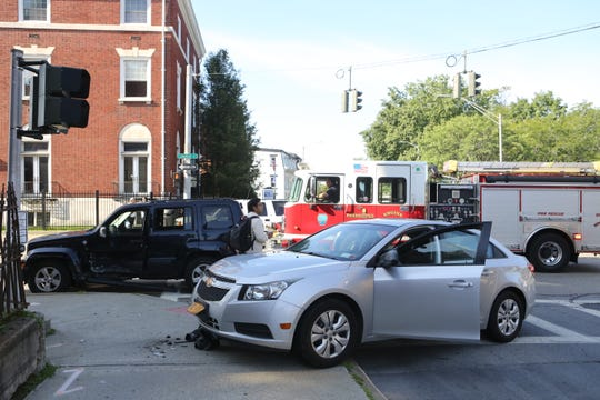 A two-car crash temporarily closed the left lane of the eastbound arterial in the City of Poughkeepsie.