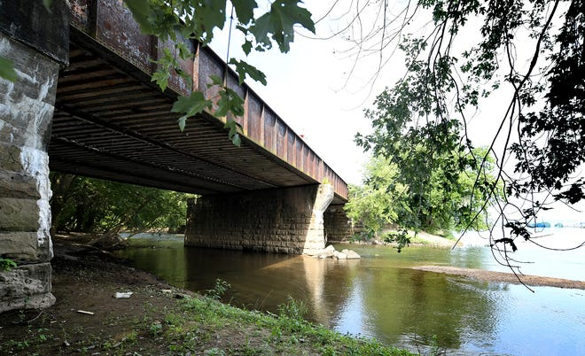 A man was struck and killed Sunday afternoon by a Norfolk Southern train while fishing from a bridge over the Yellow Breeches Creek at the Susquehanna River. Monday, Aug. 5, 2019. Bill Kalina photo