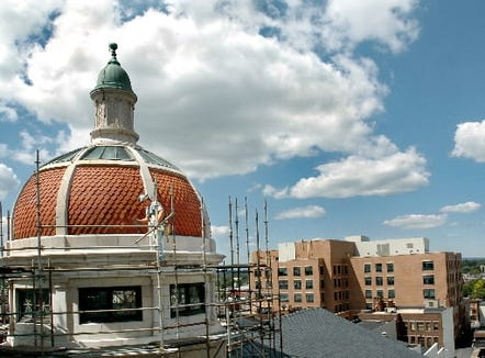 This November 2002 scene shows the York County Judicial Center under construction. That's the old courthouse with its familiar domes nearby. Those domes will be lit at 8:30 p.m., August 19, as part of the county's 270th anniversary celebration.