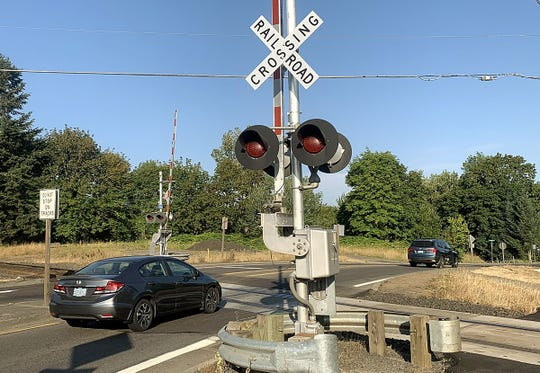 The railroad crossing at Main St. NE in Aurora, one of the most dangerous railroad crossings in Marion County. Photographed in Aurora on August 5, 2019.