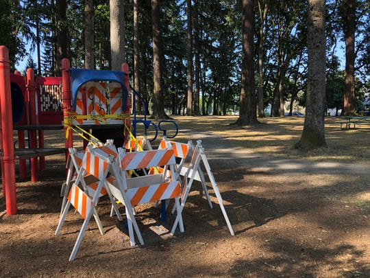 A playground slide was removed following a shooting at Englewood Park early Sunday morning.