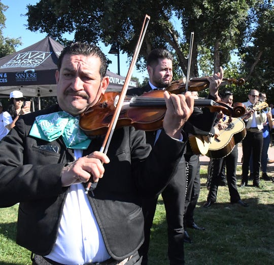 "A mariachi band plays Rocio Ducal's ""Amor Eterno,"" a traditional mourning song for Mexicans. August 4, 2019."