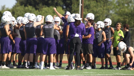 Irion County High School began practices for its first season of six-man football since 1976 at Wolfenbarger Field in Mertzon, Aug. 5, 2019.
