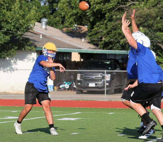 Lake View High School junior quarterback Albert Rodriguez and the Chiefs opened workouts at Lake View on Monday, Aug. 5, 2019.