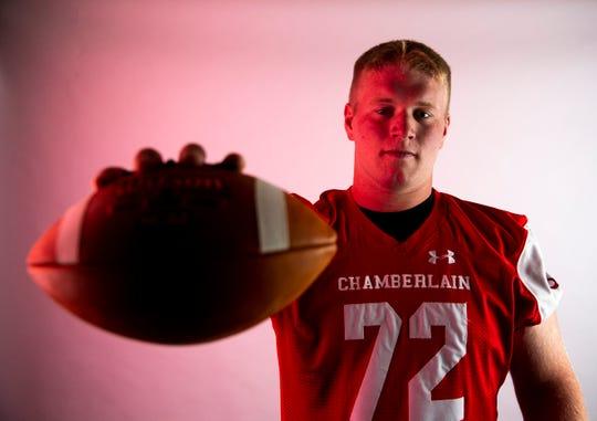 "Nash ""The Polar Bear"" Hutmacher a Chamberlain High football player, poses for a portrait, Wednesday, July 31."