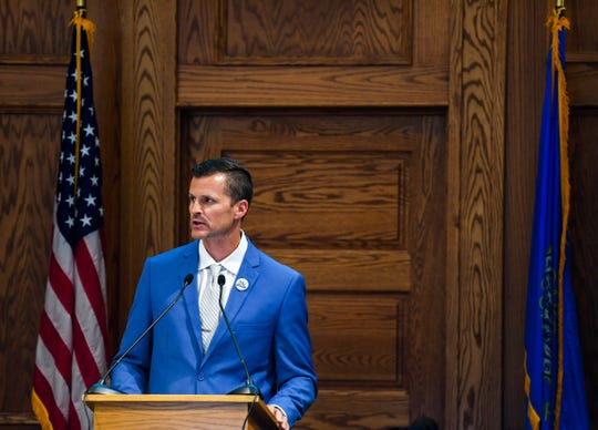 Mayor Paul TenHaken delivers the 2020 budget address to the city council at in the council chambers, Monday, Aug. 5.