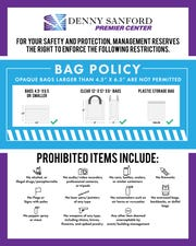 A graphic shows the updated bag policy for the Denny Sanford Premier Center.
