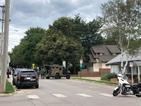 Police on scene of a barricaded subject Monday morning in the area of 22nd Street and Summit Avenue.