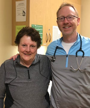 Cathy Hegg (left), who lives near Woonsocket, S.D., received CAR-T therapy in January. Kelly McCaul, MD (right), hematologist with Avera Medical Group Hematology and Bone Marrow Transplant in Sioux Falls.
