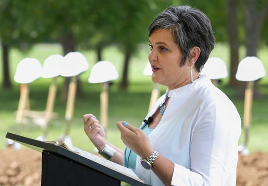Missy Riley, director of Early Childhood Education for Springfield Public Schools, speaks during the groundbreaking ceremony for the Southwest Region Early Childhood Center on Monday, Aug. 5, 2019, in Springfield, Mo.