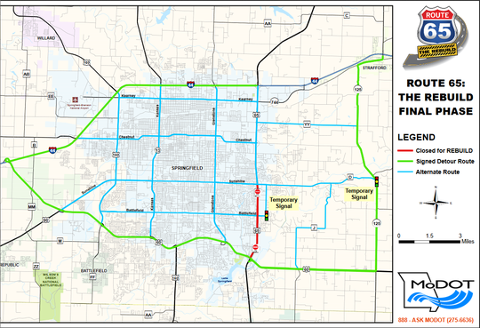 A Missouri Department of Transportation map of alternate and detour routes for navigating the U.S. Highway 65 closures.