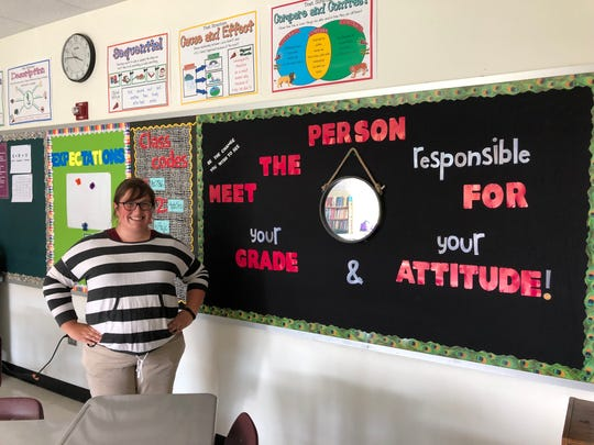 Kate Collins Middle School English teacher Joyce Knight stands in her classroom the day before the first day of the 2019-20 school year.