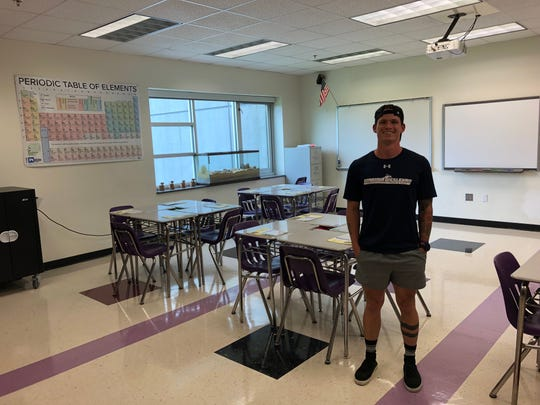 First-year Kate Collins Middle School science teacher Gavin Steel stands in his classroom the day before the first day of the 2019-20 school year.
