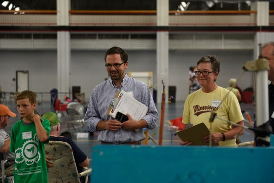 Jon Eichten, deputy commissioner of Minnesota IT Services, served as a judge Monday, Aug. 5, 2019, at the fifth annual Minnesota 4-H Engineering Design Challenge at St. Cloud State University.