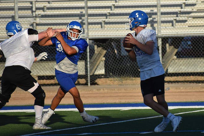 Dixie High football practices during fall camp on August 5, 2019.