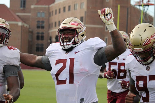 Defensive tackle Marvin Wilson at FSU football practice on Aug. 5, 2019.