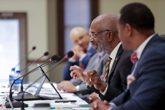 Florida A&M University President Larry Robinson speaks during a summit between the leaders of Florida's four historically black colleges and universities held at FAMU Monday, August 5, 2019.