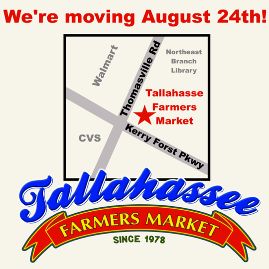 Tallahassee Farmers Market is relocating to a new location at Kerry Forest Parkway and Thomasville Road.