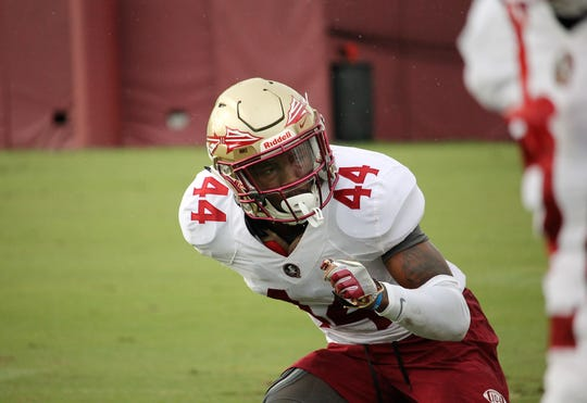 Safety Brendan Gant at FSU football practice on Aug. 5, 2019.