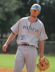 Post 13 first baseman Jared Weber prepares for a play.