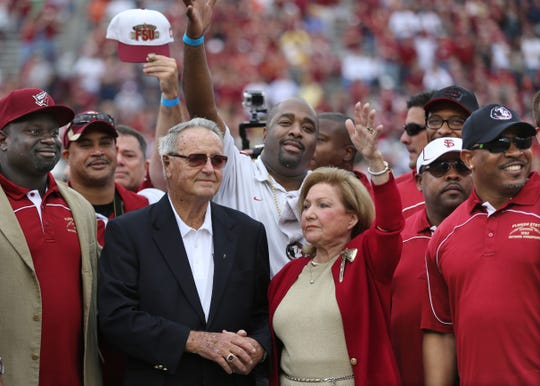 Members of the 1993 National Championship team, including Bobby Bowden and his wife Ann Bowden, were honored at the 2013 Homecoming game. The Extra Point Club is celebrating it's 40th Anniversary Aug. 9.