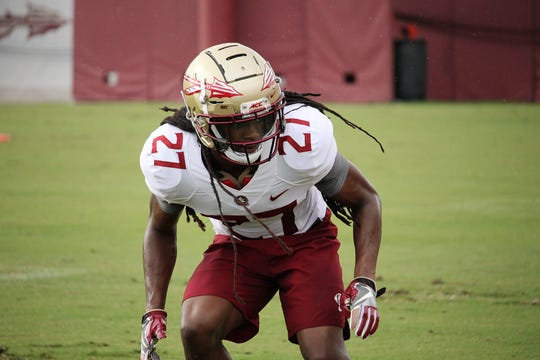 Defensive back Akeem Dent at FSU football practice on Aug. 5, 2019.