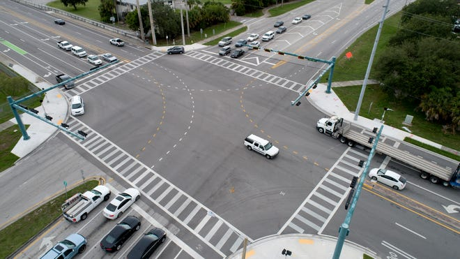 The intersection of Indian River Boulevard and 17th Street in Vero Beach, is seen in an aerial image Wednesday, July 31, 2019. Vero Beach owns three, 38-acre parcels at the intersection, which includes the former power plant site, the former post office annex and the city's wastewater treatment plant. What to do with the three properties has been a source of debate among City Council members and the public. Qualifying for the November City Council election begins Thursday.