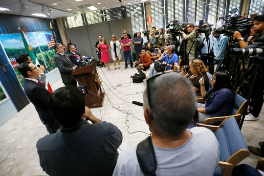 Mexico's Foreign Minister Marcelo Ebrard holds a press conference Monday, Aug. 5, at the Consulate General of Mexico in El Paso. Ebrard confirmed eight Mexican nationals died from Saturday's shooting at Walmart. They make up about a third of the total number of dead, which stood at 22 as of Monday morning, according to El Paso police.