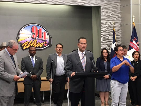 Mayor Dee Margo, left, on Monday, Aug. 5, 2019, said he will welcome President Donald Trump to El Paso on Wednesday. City Manager Tommy Gonzalez speaks at the news conference announcing the visit.